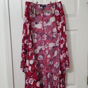 Torrid Fushia Floral Open Kimono, Size 3/4